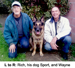 Rich, his dog Sport and Wayne