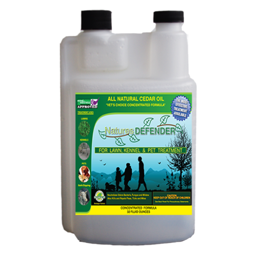 Lawn and kennel Nature's Defender cedar oil concentrate keeps lawn pests at bay.